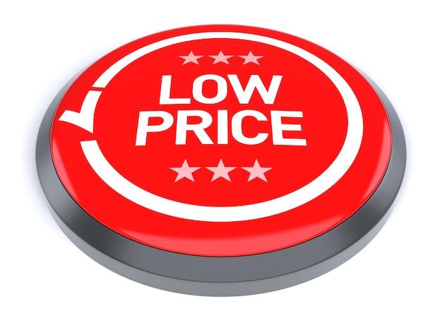 Rode lage prijs knop, geïsoleerd op een witte achtergrond.