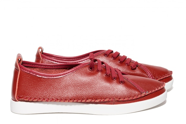 Rode lederen schoenen