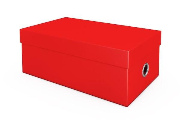 Rode lege kartonnen schoenendoos mockup voor uw ontwerp op een witte achtergrond. 3d-rendering