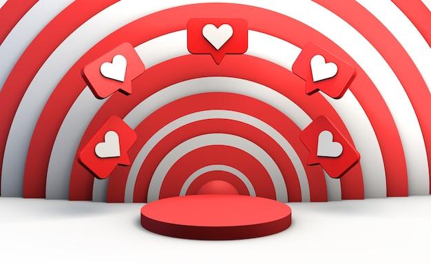 Rode lege sokkel op witte achtergrond met sociale media meldingspictogrammen om product weer te geven