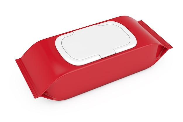 Rode lege verpakking papier natte doekjes pouch op een witte achtergrond. 3d-rendering