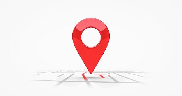 Rode locatie symbool pin pictogram teken of navigatie locator kaart reizen gps richting aanwijzer en marker plaats positie punt ontwerp geïsoleerd op witte grafische wegmarkering bestemming achtergrond. 3d render.