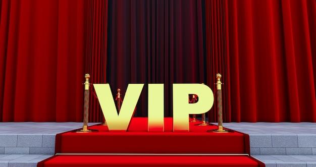 Rode loper op de trap met gouden vip-woord. het pad naar glorie. trap omhoog. zakelijk succes. rood fluwelen tapijt.