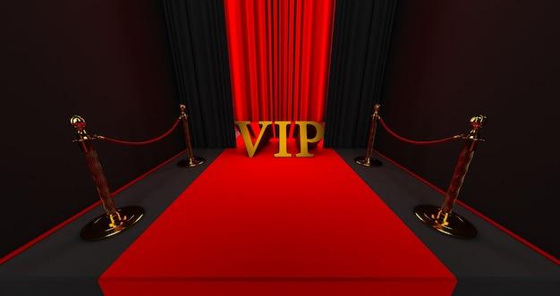 Rode loper op de trap op een donkere achtergrond met gouden vip-woord, het pad naar glorie, 3d render