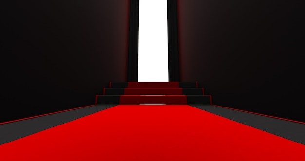 Rode loper op de trap op een donkere achtergrond met licht op het einde, het pad naar glorie, 3d render