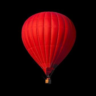 Rode luchtballon geïsoleerd op zwart met alfakanaal en werkpad perfect voor digitale compositie
