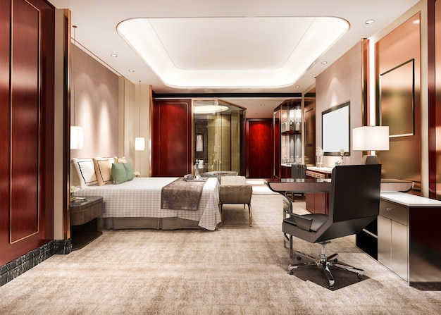 Rode luxe slaapkamersuite in hoogbouwhotel van het resort met werktafel