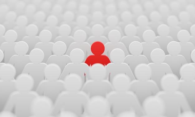 Rode man kleur beeldje onder menigte witte mannen mensen achtergrond