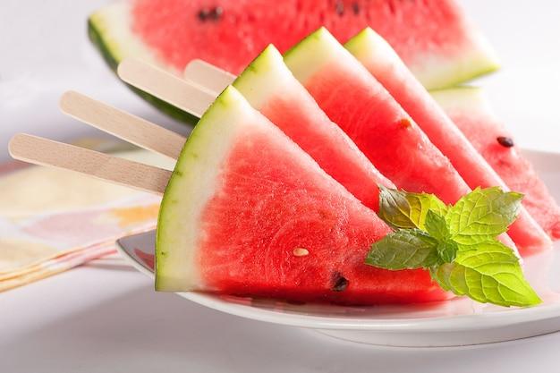 Rode meloen gesneden