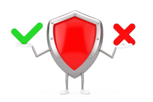 Rode metalen bescherming schild karakter mascotte met rode kruis en groen vinkje, bevestigen of ontkennen, ja of nee pictogram teken op een witte achtergrond. 3d-rendering