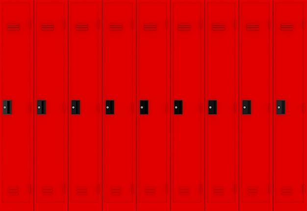Rode metalen lockers rij achtergrond.