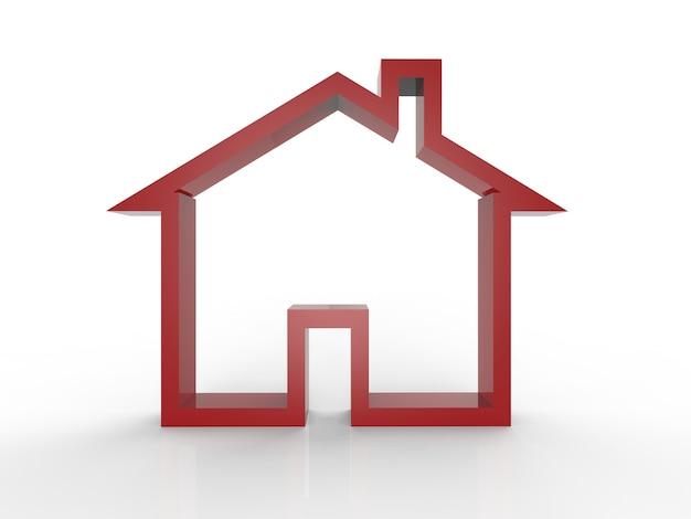 Rode mock-up huis op witte achtergrond