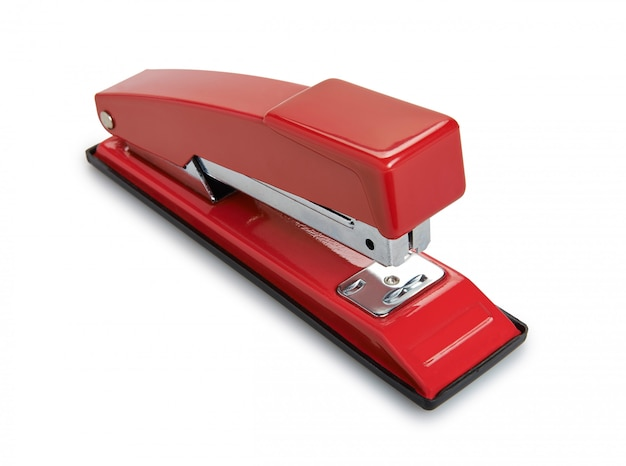Rode nietmachine die op wit wordt geïsoleerd