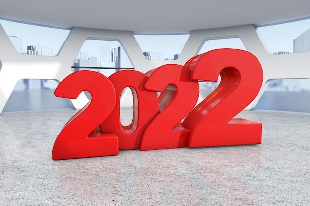 Rode nieuwe 2022 jaar aanmelden abstracte heldere kantoor vergaderruimte extreme close-up. 3d-rendering