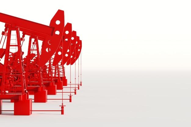 Rode oliepomp op een witte muur, olieplatform industriële olieproductie, olieprijzen. technologieconcept, fossiele energiebronnen, koolwaterstoffen. kopieer ruimte, 3d illustratie, 3d render.