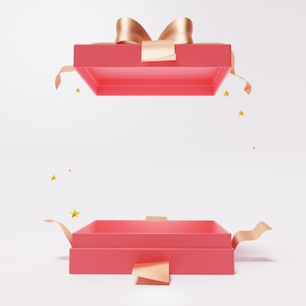 Rode open geschenkdoos met lint op wit