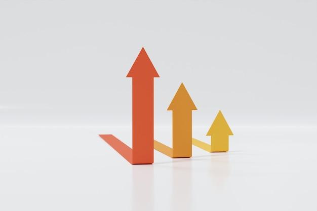 Rode, oranje en gele pijlen verhogen de stap omhoog. abstracte financiële grafiek met uptrend lijn pijlen grafiek omhoog geïsoleerd op een witte achtergrond. 3d-rendering