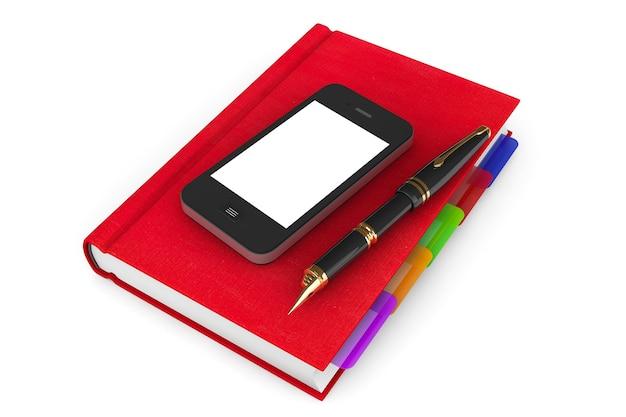 Rode organizer notebook met mobiele telefoon en pen op een witte achtergrond