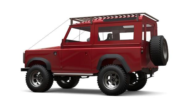 Rode oude kleine suv afgestemd op moeilijke routes en expedities. 3d-rendering.