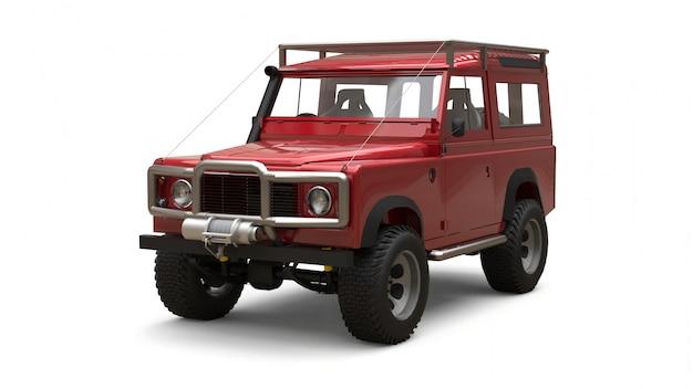 Rode oude kleine suv afgestemd voor moeilijke routes en expedities
