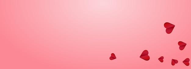 Rode papercut vector roze panoramische achtergrondkleur. bruiloft harten kaart. kastanjebruin kleur romantiek hart concept.