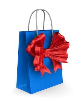 Rode papieren geschenkzak met strik op witte achtergrond. geïsoleerde 3d-afbeelding