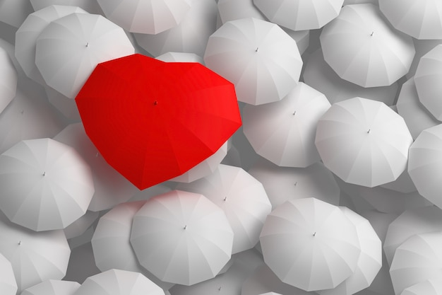 Rode paraplu hartvorm torenhoog boven andere paraplu's. 3d illustratie