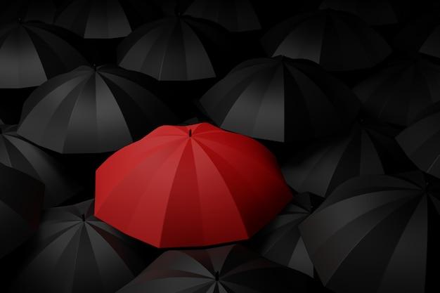 Rode paraplu in het midden van zwart. verschilconcepten. 3d-weergave