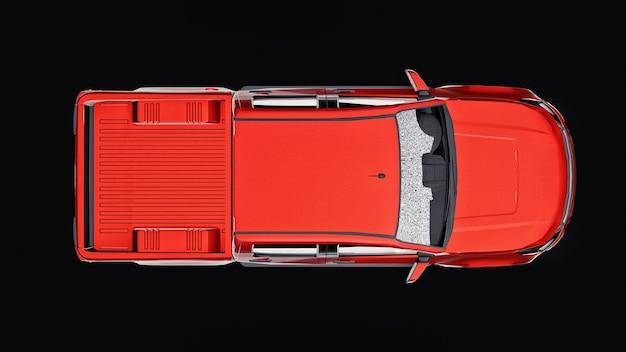 Rode pick-up auto op een zwarte achtergrond. 3d-weergave.