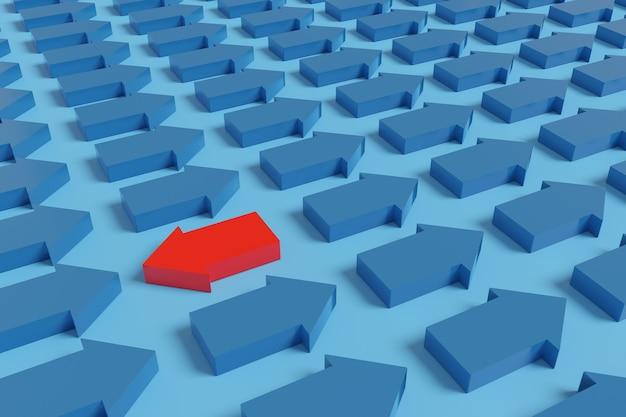 Rode pijl die naar links wijst naast vele andere blauwe pijlen die naar rechts wijzen.