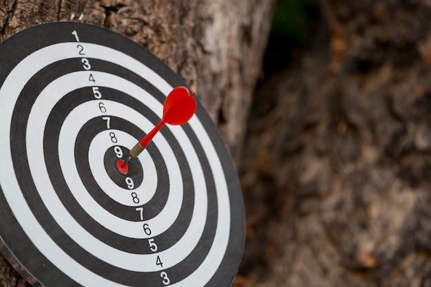 Rode pijl doel pijl raken op bullseye