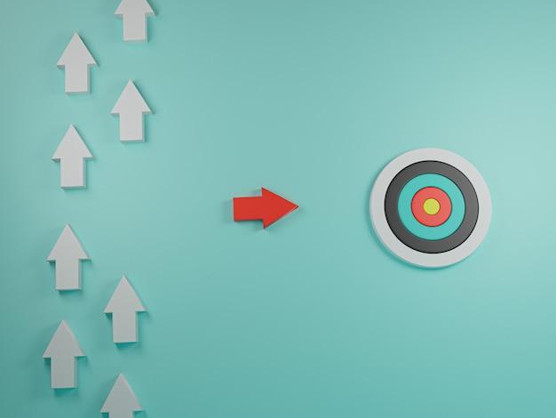 Rode pijl gaat van witte pijlen en lijn naar doelbord, ander denkidee en streeft naar met zakelijk doelconcept. 3d render