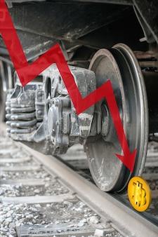 Rode pijl naar beneden en bitcoin op rails onder een treinwiel. bitcoin is verpletterd en viel naar beneden. cryptocurrency-handelscrisis. btc-crash. verticaal.
