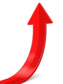 Rode pijl op witte achtergrond. geïsoleerde 3d-afbeelding