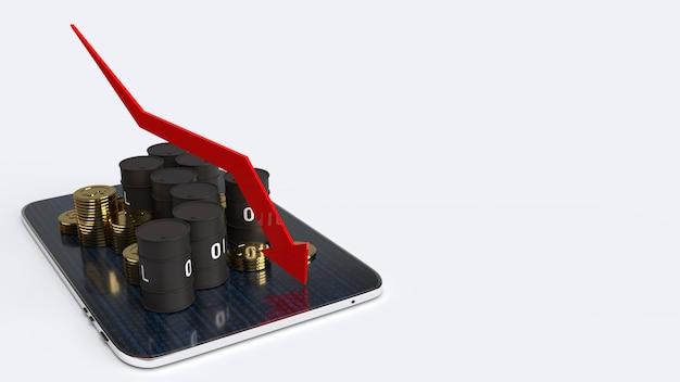 Rode pijl poontong naar beneden en olietanks, 3d-rendering