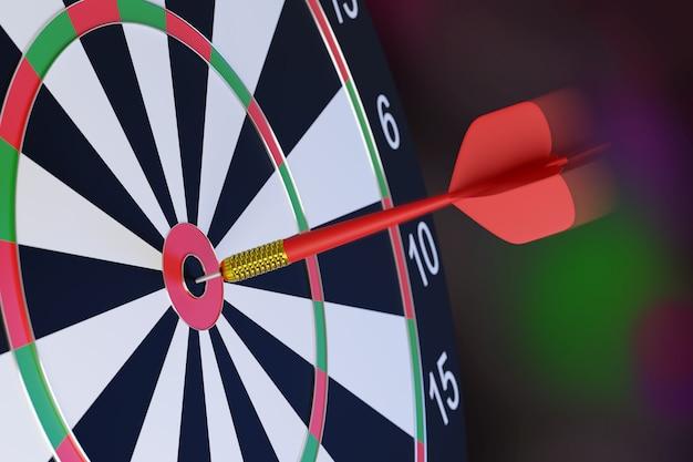 Rode pijl vast in het midden van een doelwit