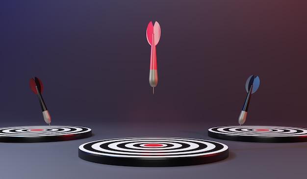 Rode pijlen die het middelste doel bereiken. darten doel. doelwit van het bedrijfsleven. succes bedrijfsconcept. 3d-weergave