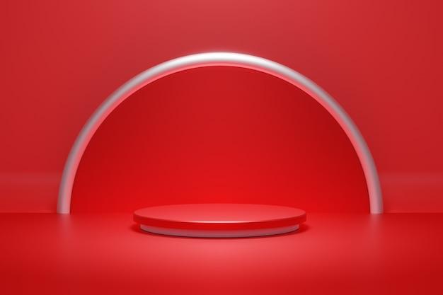 Rode podium podium en zilveren ring en spot lichte achtergrond