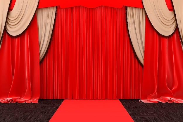 Rode podiumgordijnen close-up, 3d illustratie