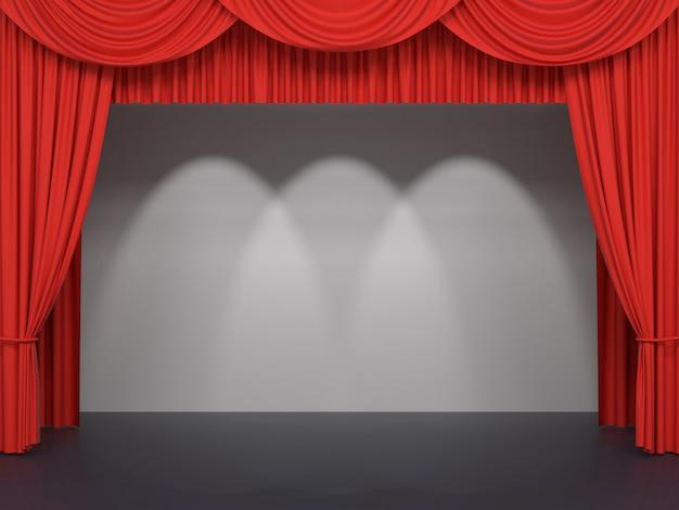 Rode podiumgordijnen