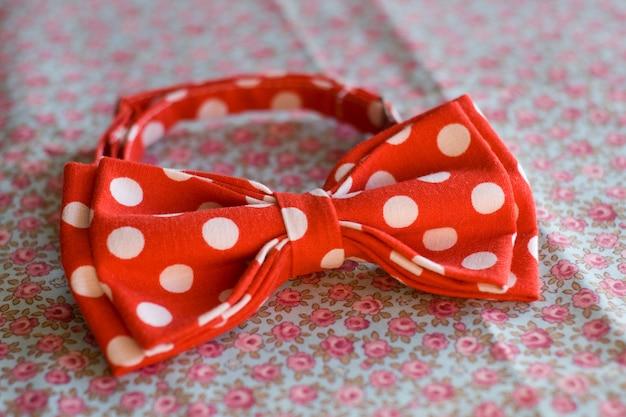 Rode polka dot stropdas vlinder rust op een roze roos