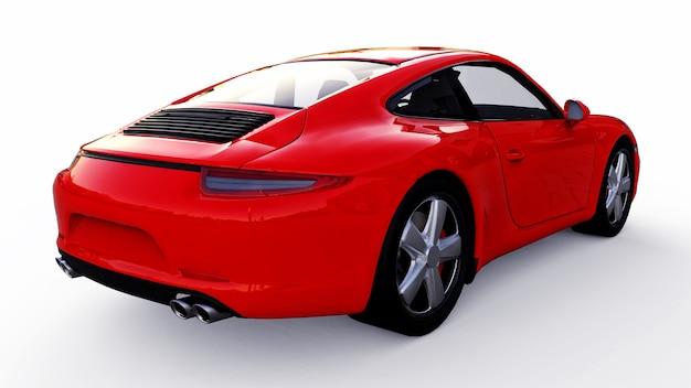 Rode porsche 911 driedimensionale rasterillustratie op een witte achtergrond. 3d-rendering.
