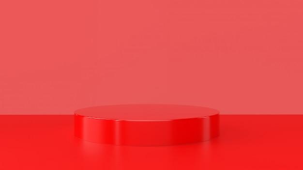 Rode producttribune op rode achtergrond. abstract minimaal geometrieconcept.