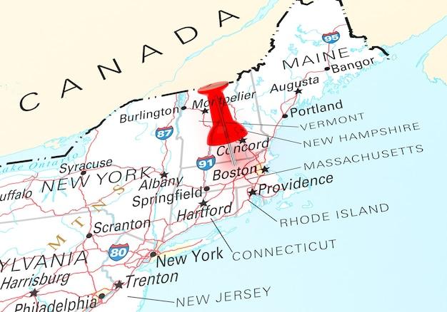 Rode punaise over massachusetts state usa kaart. 3d-rendering