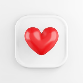 Rode realistische hart pictogram, witte vierkante knop. 3d-weergave.