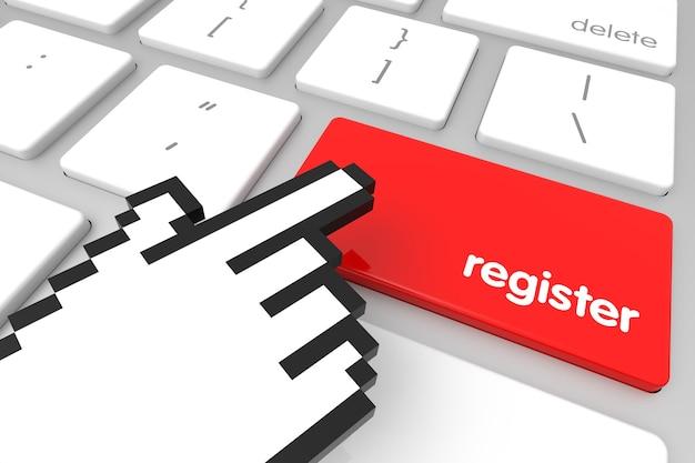 Rode register enter-toets met handcursor. 3d-rendering