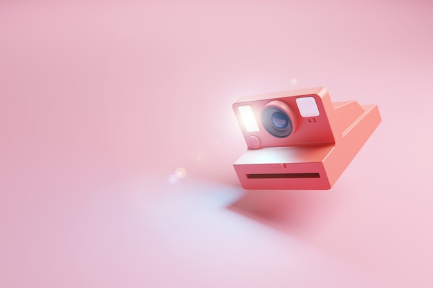 Rode retro onmiddellijke fotocamera die de flits op een roze oppervlakte afvuurt