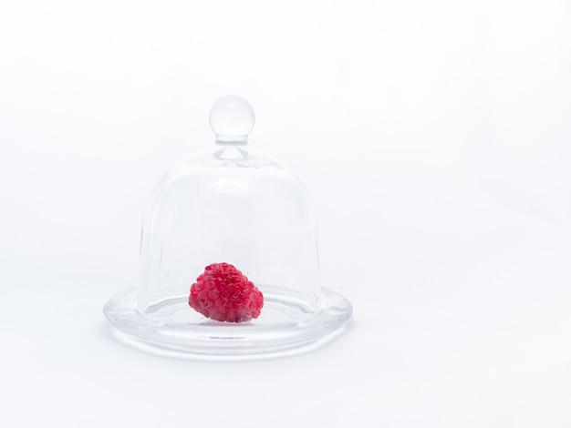 Rode rijpe frambozen in een mini glazen plaat onder een glazen deksel. gastronomisch dessert. uniciteit van het concept.