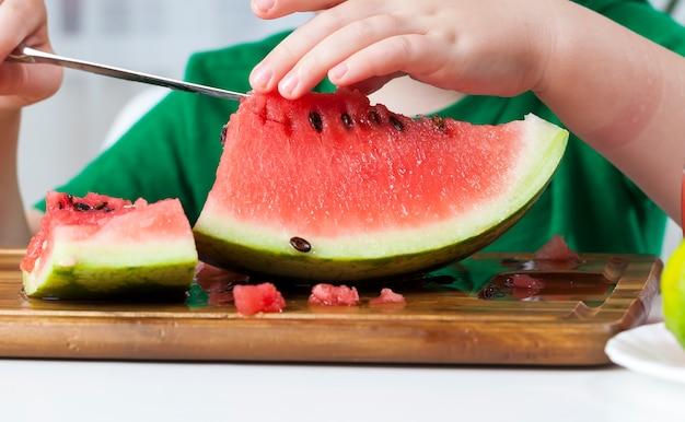 Rode rijpe watermeloen in stukjes gesneden