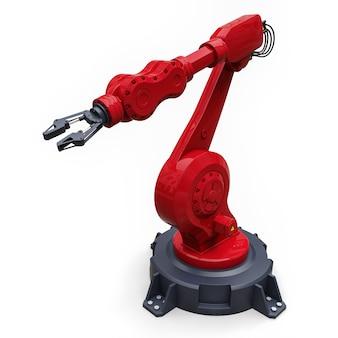 Rode robotarm voor elk werk in een fabriek of productie. mechatronische apparatuur voor complexe taken. 3d illustratie